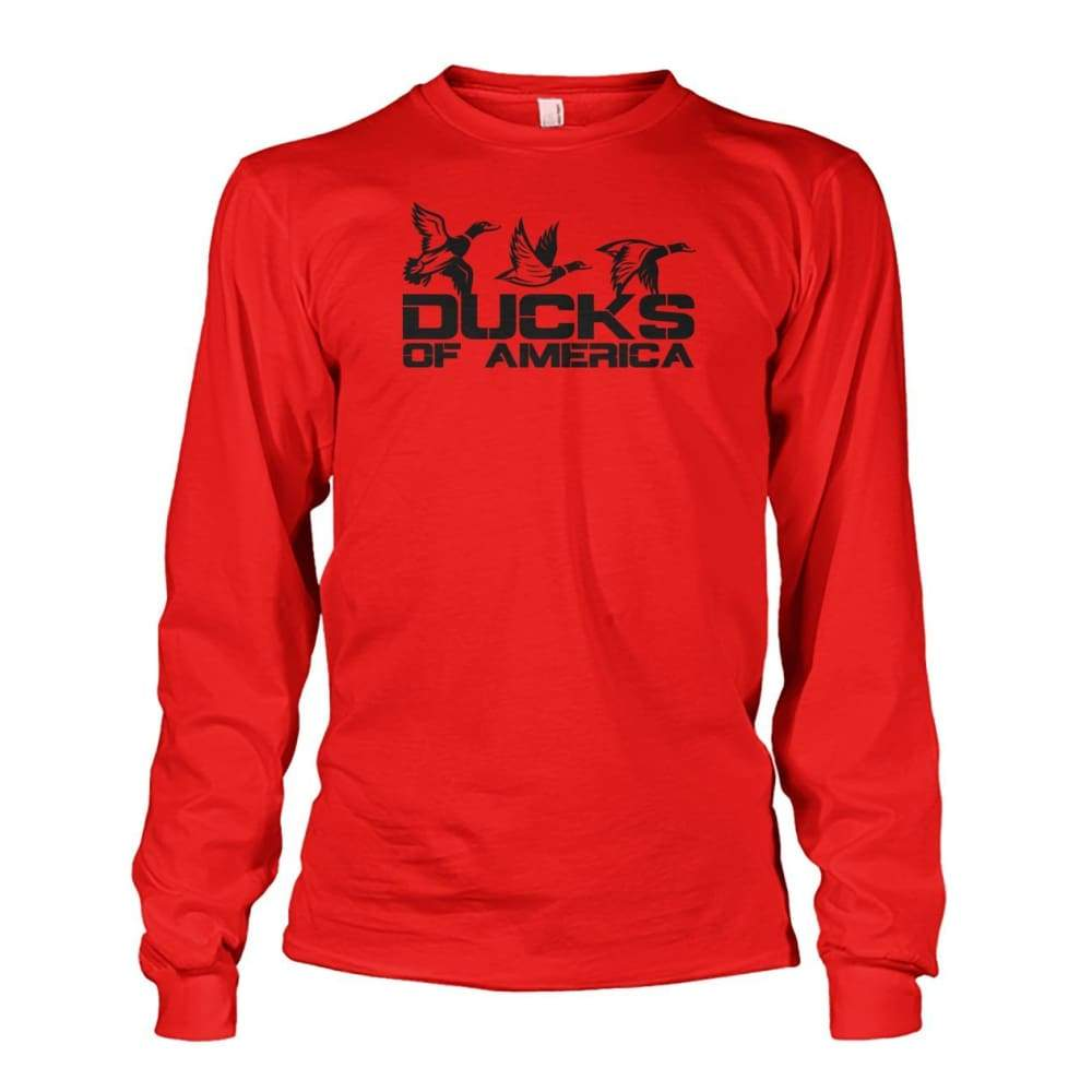 Ducks Of America (Black) Unisex Long Sleeve - Red / S - Long Sleeves