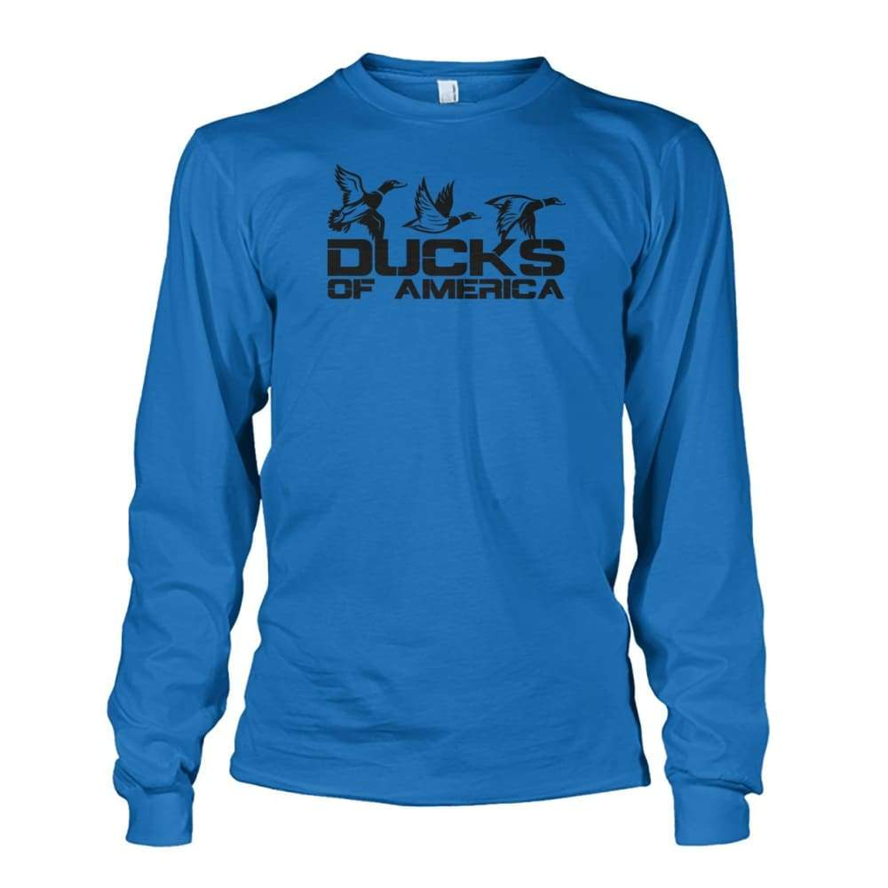 Ducks Of America (Black) Unisex Long Sleeve - Sapphire / S - Long Sleeves