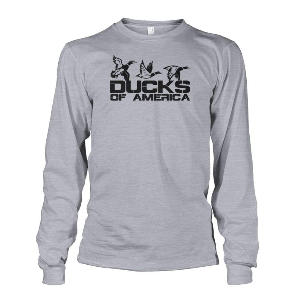 Ducks Of America (Black) Unisex Long Sleeve - Sports Grey / S - Long Sleeves