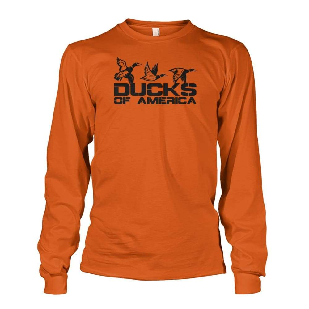 Ducks Of America (Black) Unisex Long Sleeve - Texas Orange / S - Long Sleeves