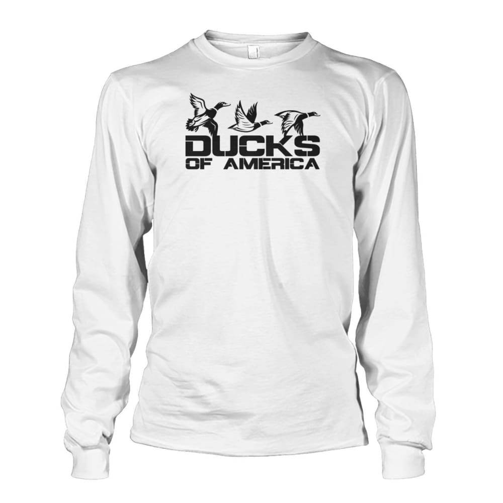 Ducks Of America (Black) Unisex Long Sleeve - White / S - Long Sleeves