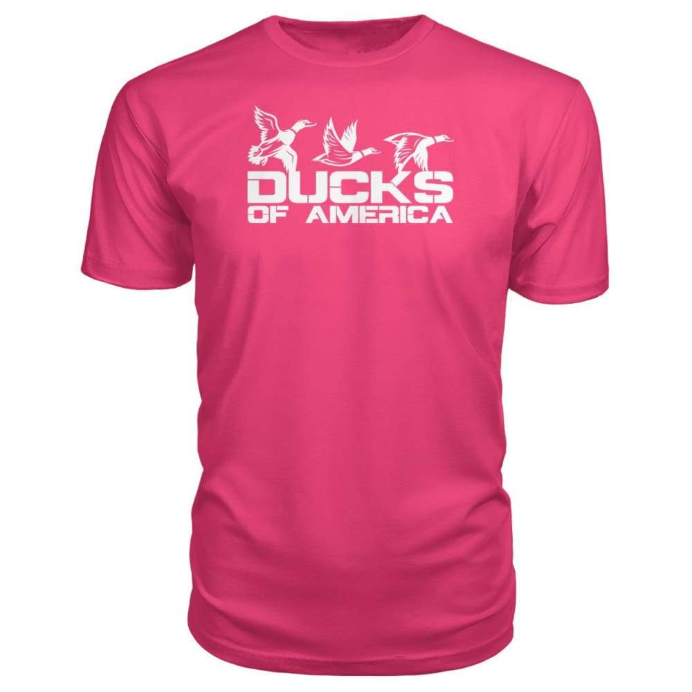 Ducks Of America (White) Premium Unisex Tee - Hot Pink / S - Short Sleeves