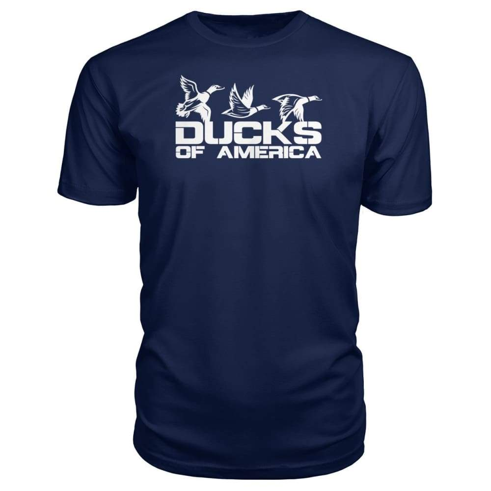 Ducks Of America (White) Premium Unisex Tee - Navy / S - Short Sleeves