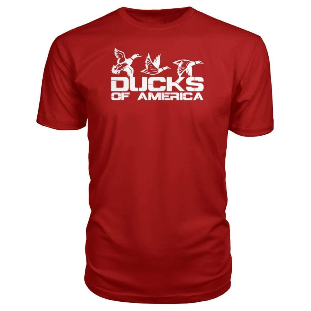 Ducks Of America (White) Premium Unisex Tee - Red / S - Short Sleeves
