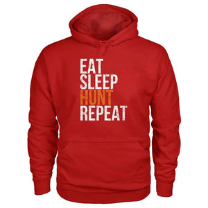 Eat Sleep Hunt Repeat Hoodie - Cherry Red / S - Hoodies