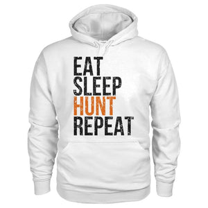Eat Sleep Hunt Repeat Hoodie - White / S - Hoodies