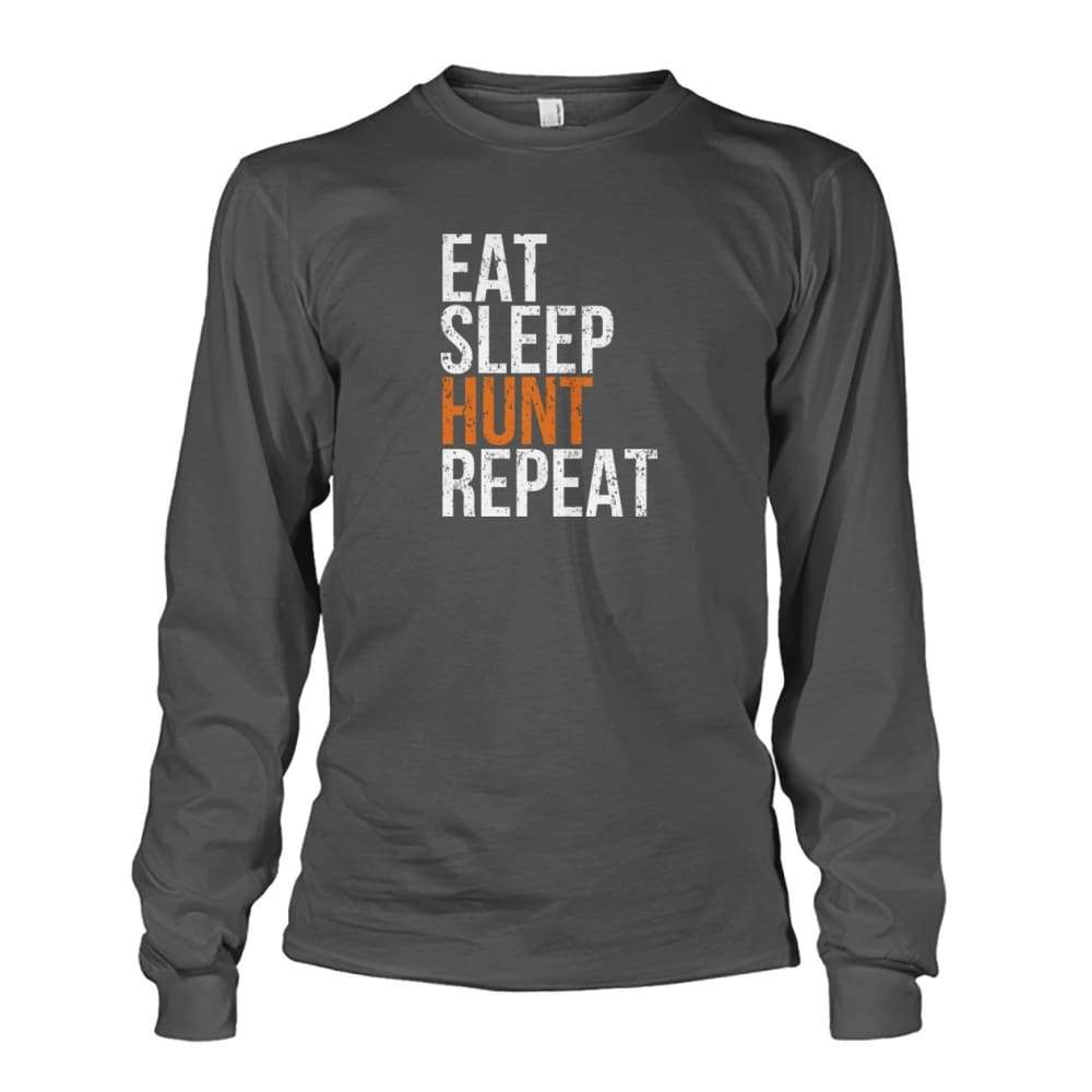 Eat Sleep Hunt Repeat Long Sleeve - Charcoal / S - Long Sleeves