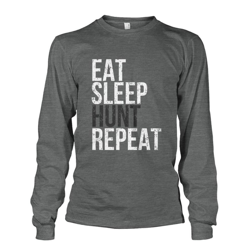 Eat Sleep Hunt Repeat Long Sleeve - Dark Heather / S - Long Sleeves