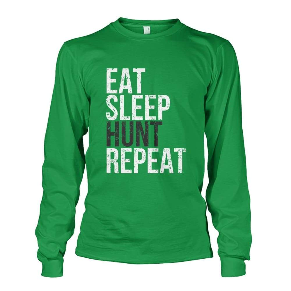 Eat Sleep Hunt Repeat Long Sleeve - Irish Green / S - Long Sleeves