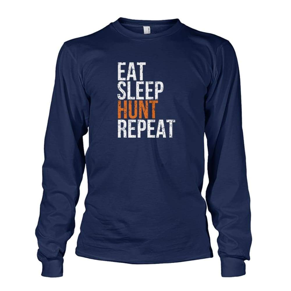 Eat Sleep Hunt Repeat Long Sleeve - Navy / S - Long Sleeves