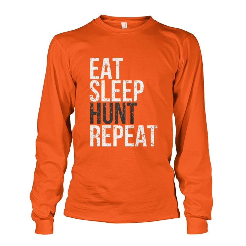 Eat Sleep Hunt Repeat Long Sleeve - Orange / S - Long Sleeves