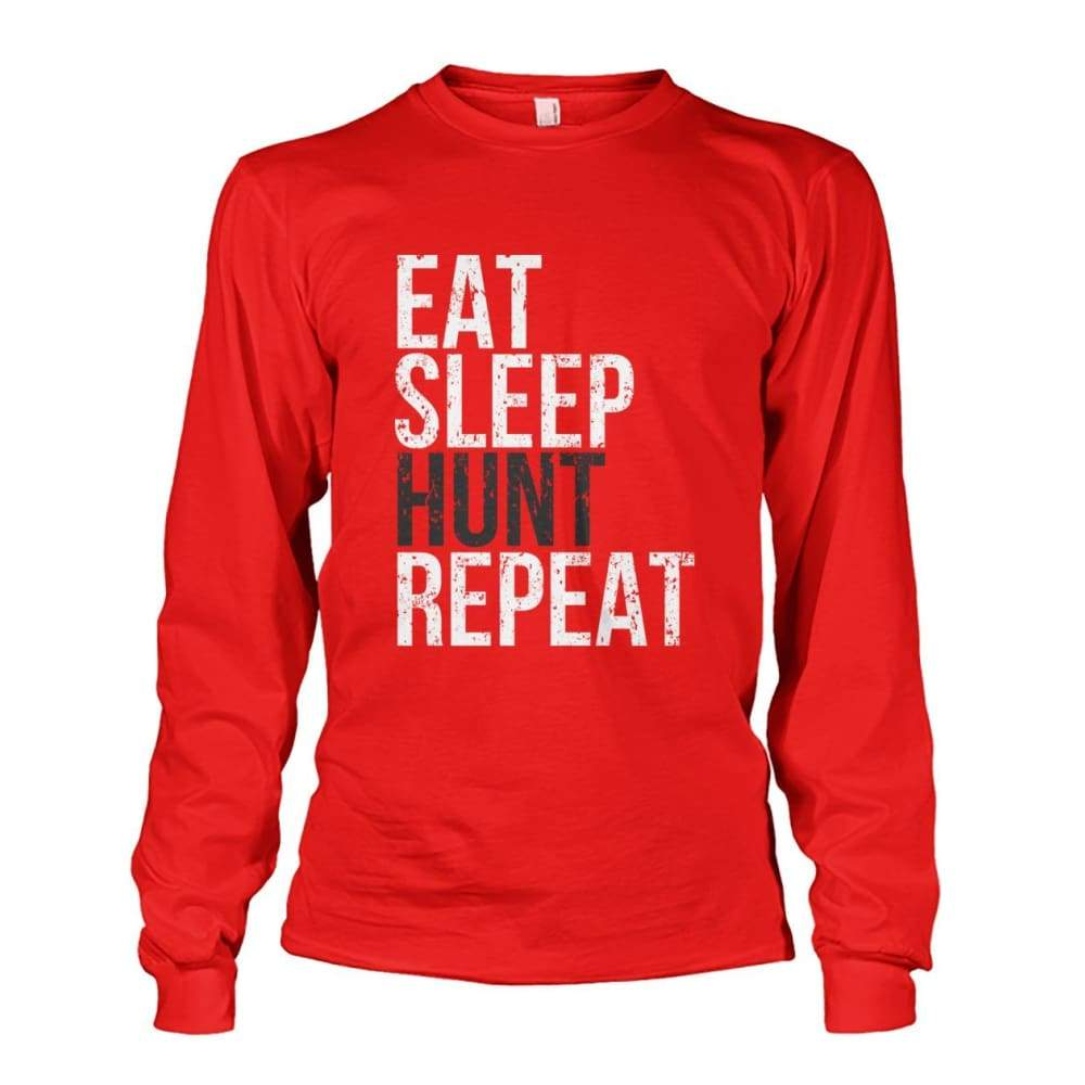 Eat Sleep Hunt Repeat Long Sleeve - Red / S - Long Sleeves