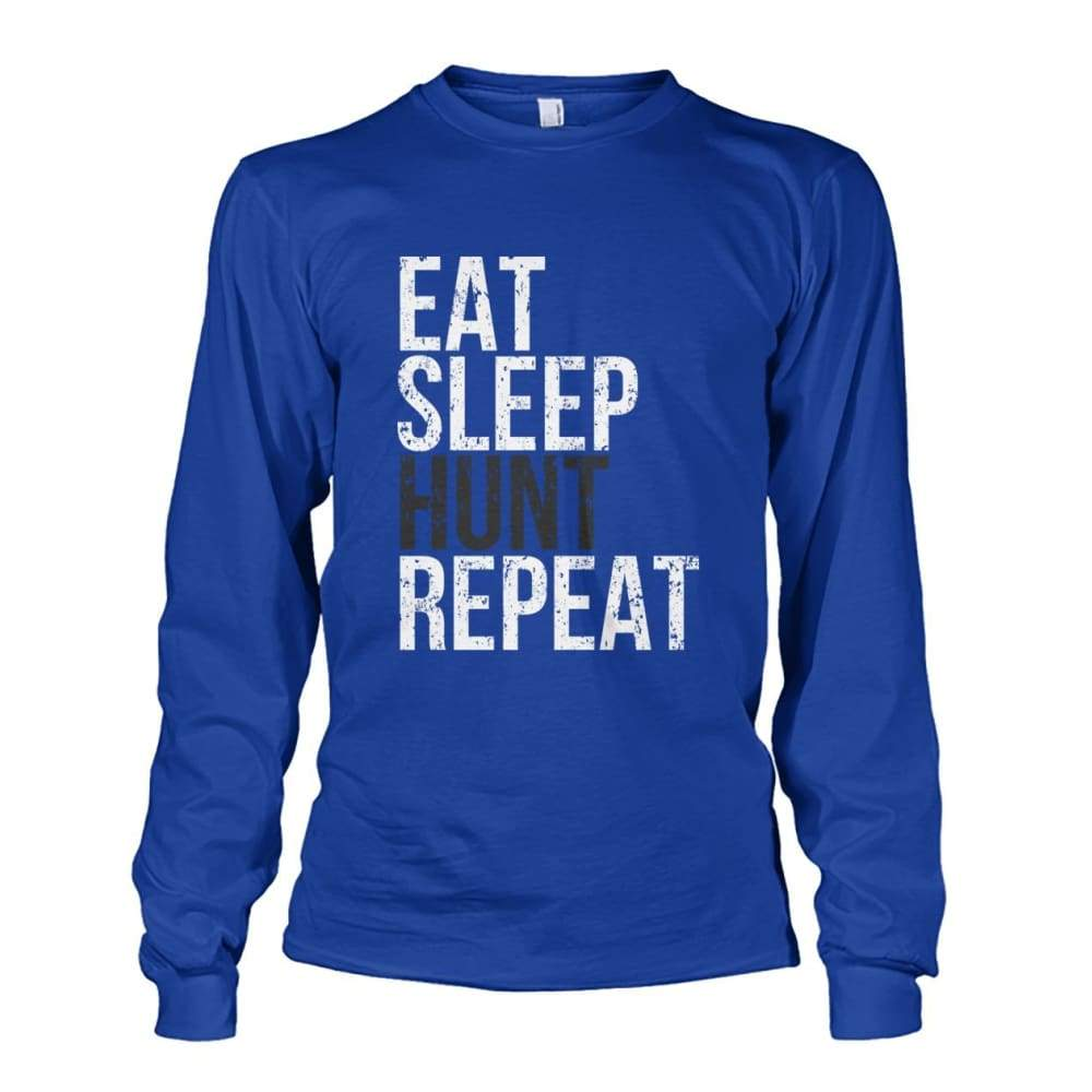 Eat Sleep Hunt Repeat Long Sleeve - Royal / S - Long Sleeves