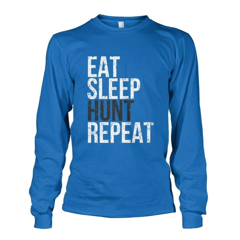Eat Sleep Hunt Repeat Long Sleeve - Sapphire / S - Long Sleeves