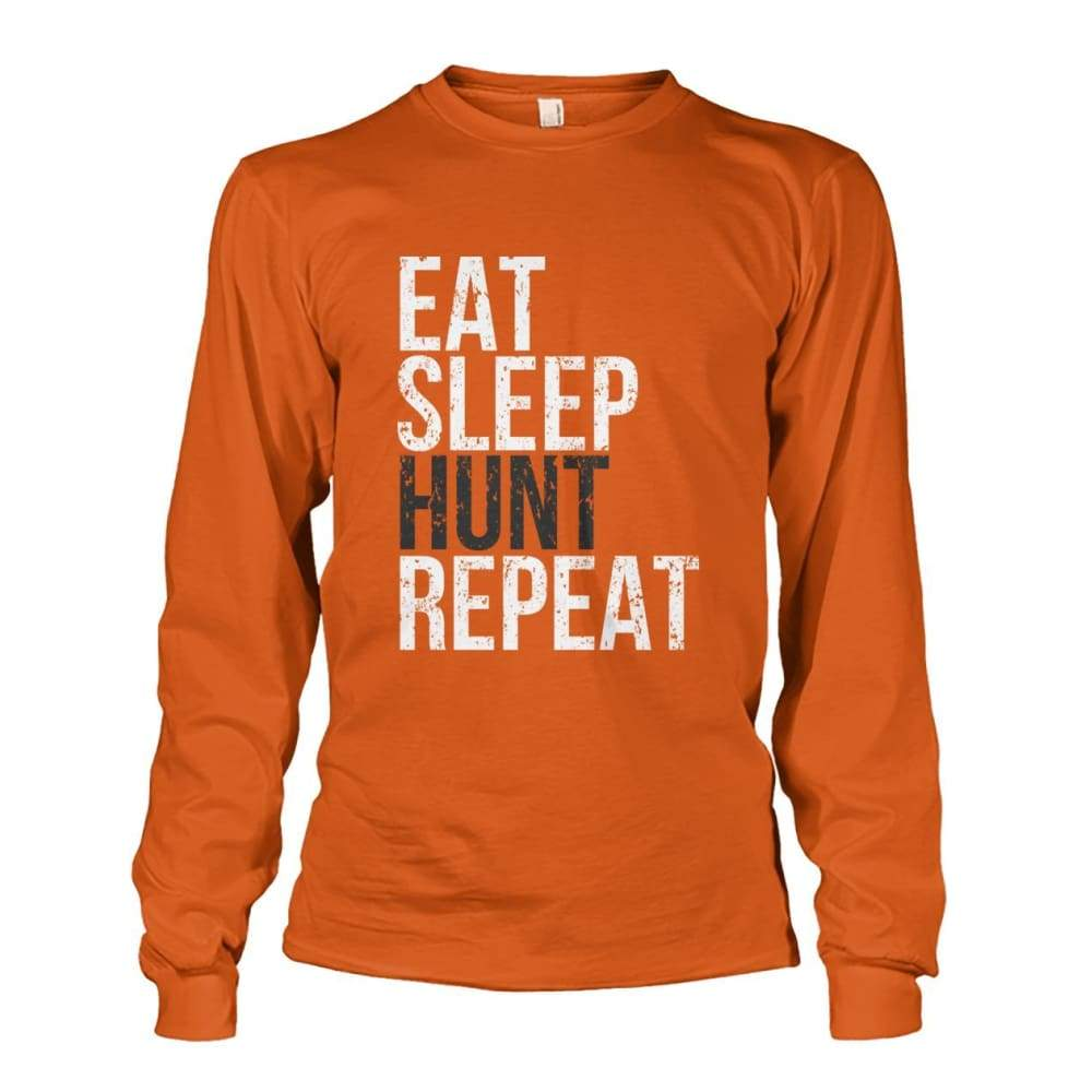 Eat Sleep Hunt Repeat Long Sleeve - Texas Orange / S - Long Sleeves