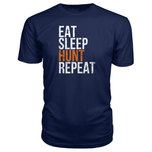 Eat Sleep Hunt Repeat Premium Tee - Navy / S - Short Sleeves