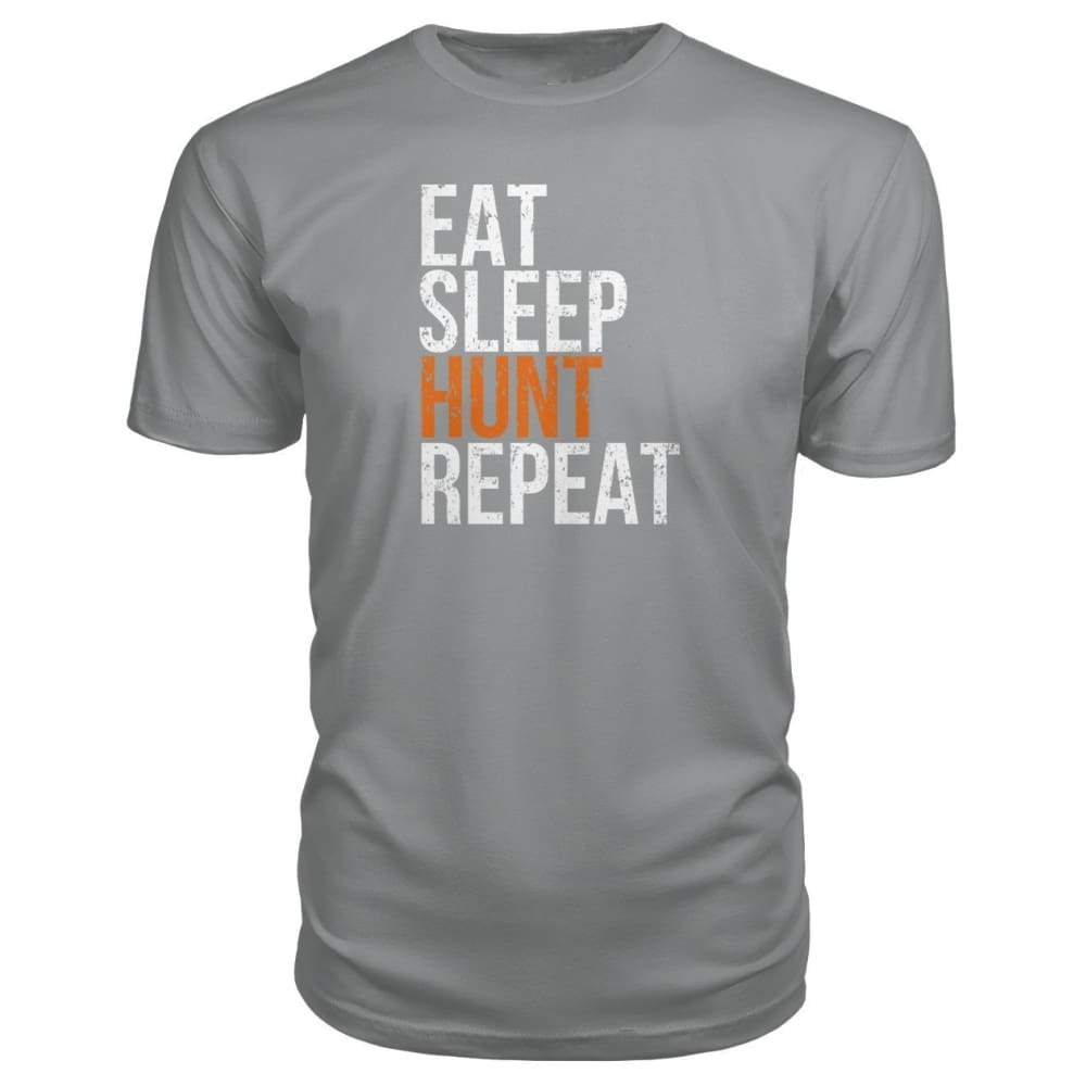 Eat Sleep Hunt Repeat Premium Tee - Storm Grey / S - Short Sleeves