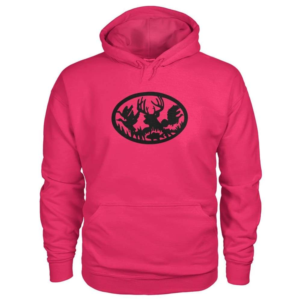 Hunting And Fishing Hoodie - Heliconia / S - Hoodies