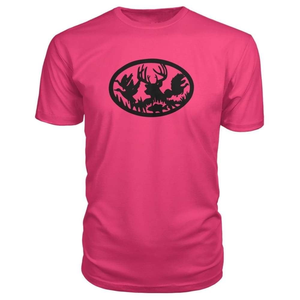 Hunting And Fishing Premium Tee - Hot Pink / S - Short Sleeves