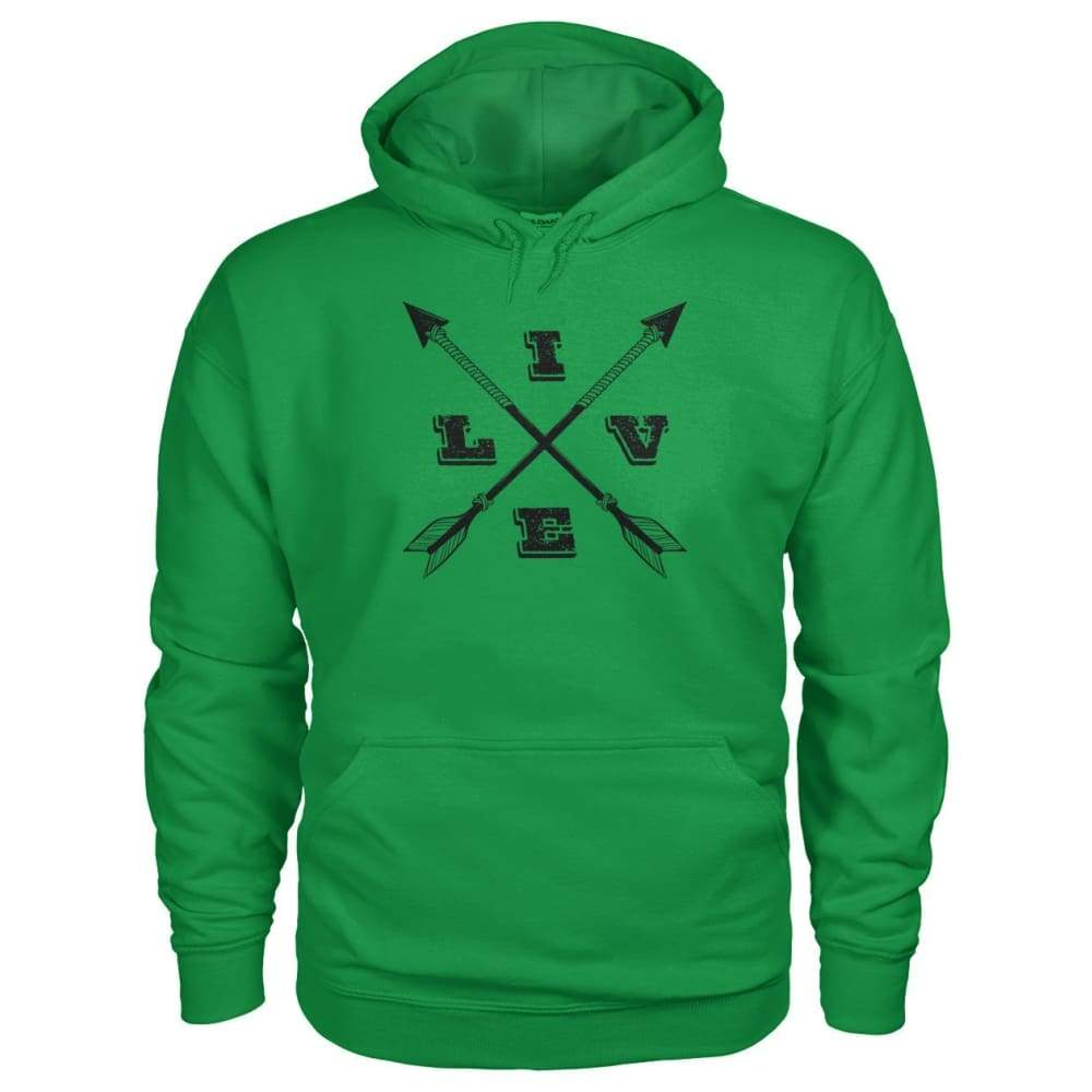 Live Arrows Design Hoodie - Irish Green / S - Hoodies