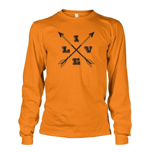 Live Arrows Design Long Sleeve - Safety Orange / S - Long Sleeves