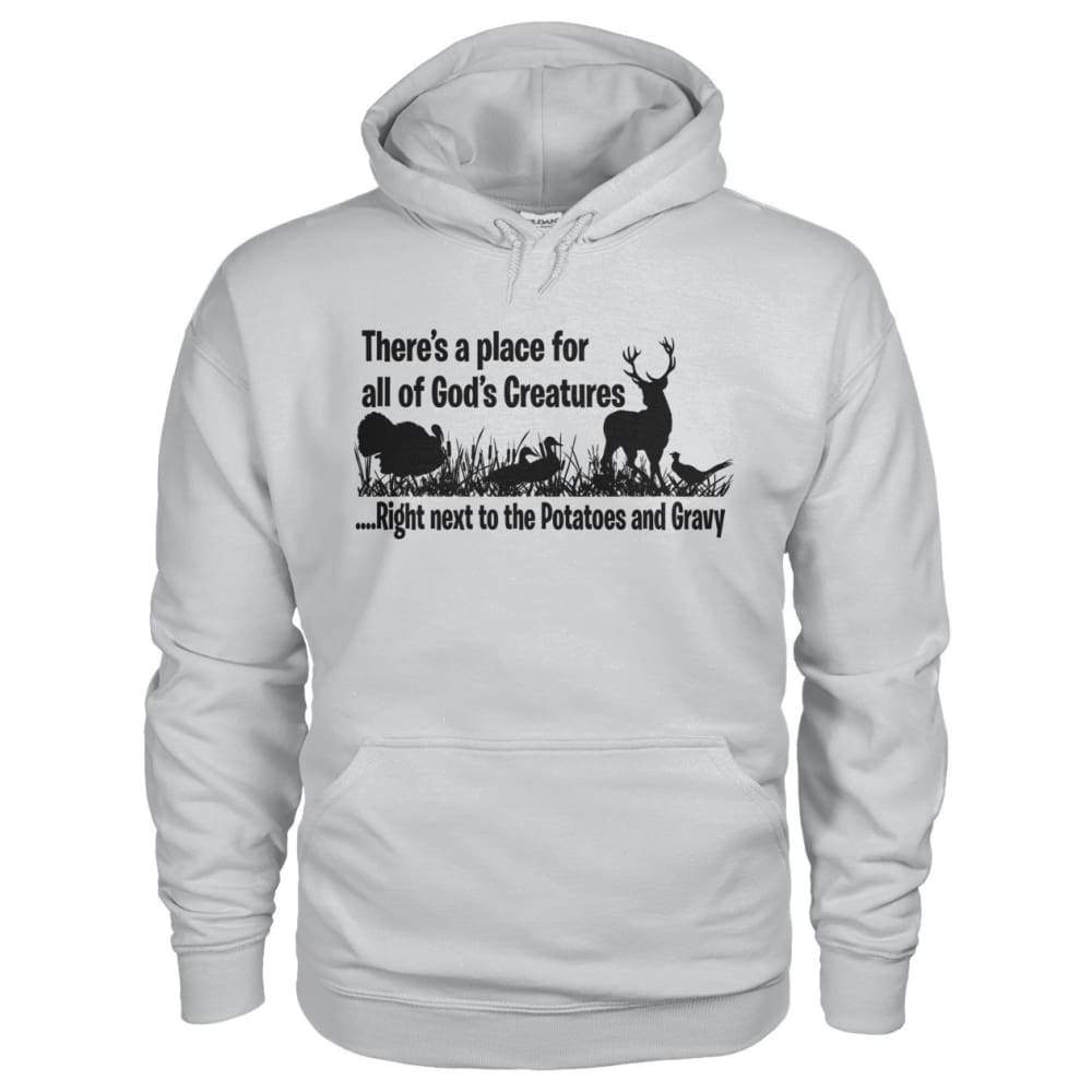 Theres A Place For All Of Gods Creatures Hoodie - Ash Grey / S - Hoodies