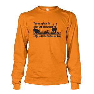 Theres A Place For All Of Gods Creatures Long Sleeve - Safety Orange / S - Long Sleeves