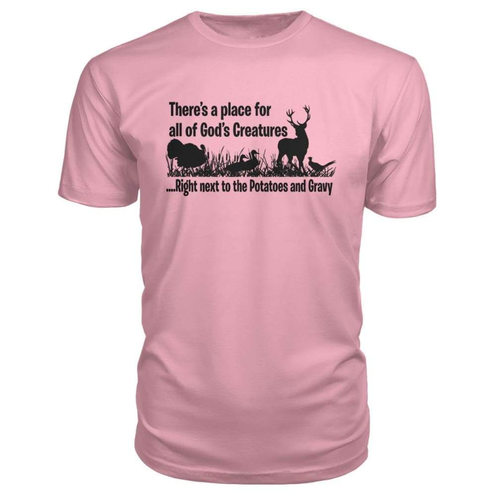 Theres A Place For All Of Gods Creatures Premium Tee - Charity Pink / S - Short Sleeves
