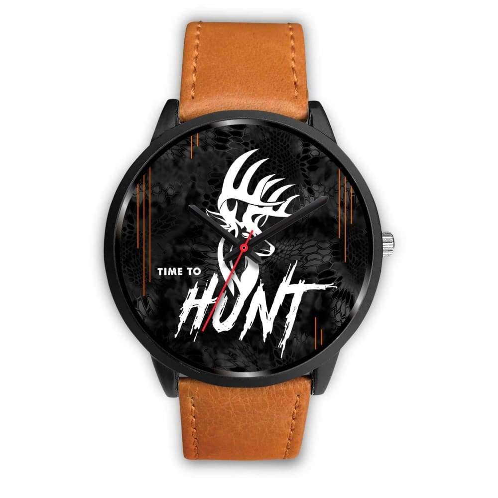Time To Hunt - Kryptek Typhon Camo Watch - Mens 40mm / Brown Leather - Black Watch