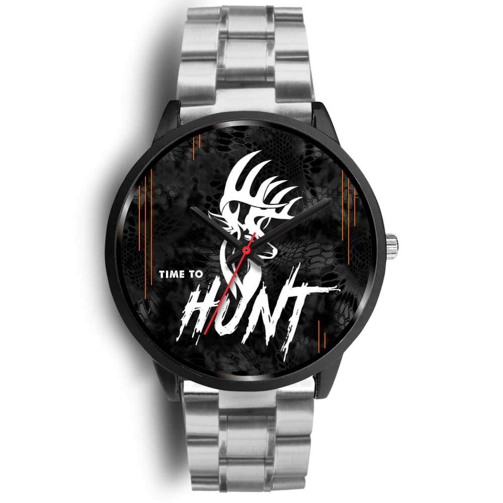 Time To Hunt - Kryptek Typhon Camo Watch - Mens 40mm / Silver Metal Link - Black Watch
