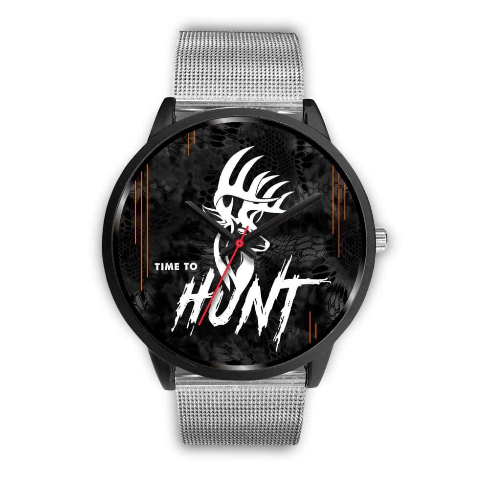 Time To Hunt - Kryptek Typhon Camo Watch - Mens 40mm / Silver Metal Mesh - Black Watch