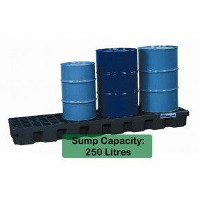 28704 4 Drum Spill Pallet In-Line Polyethylene Low Profile
