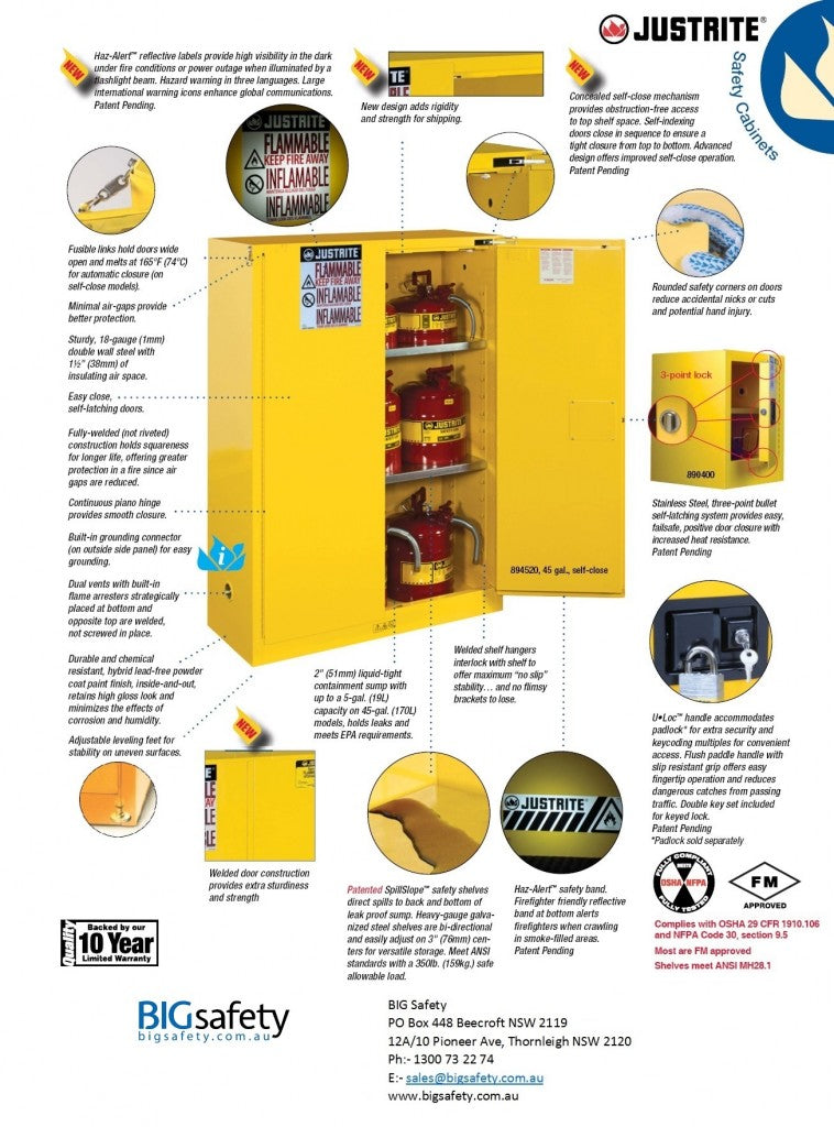 Features of Justrite Flammable and Corrosive Cabinets