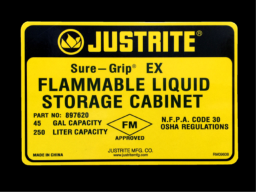 Justrite Flammable FM Approved label