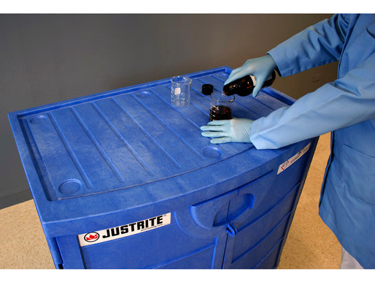 90 L Justrite Polyethylene Corrosive Chemical Cabinet Workbench