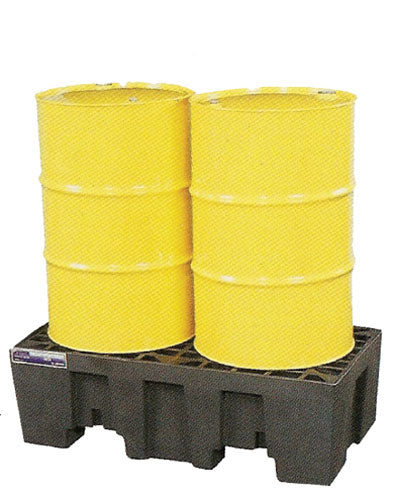 Spill Pallet 2 Drum In-Line Polyethylene Low Profile