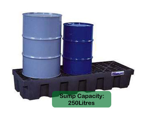 Spill Pallet 3 Drum In-Line Polyethylene Low Profile