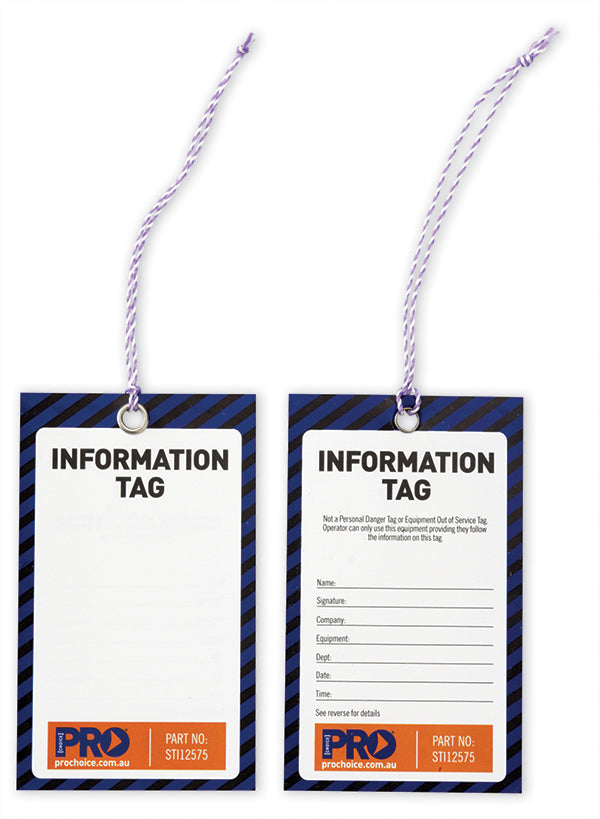Information Safety Tag -125mm X 75mm