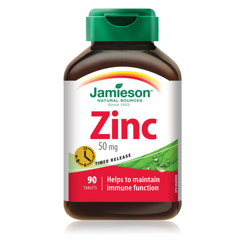 Jamieson Zinc 50 mg — Timed Release, 90 tabs