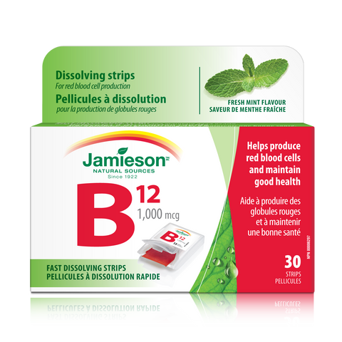 Jamieson Vitamin B12 1,000 mcg Strips (Methylcobalamin), 30 strips