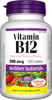 Vitamin B12, Natural Cherry Flavour, 500 mcg, 120 sublingual tablets