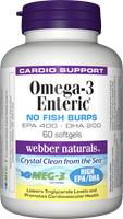 Omega-3 Enteric, No Fish Burps, EPA 400, DHA 200, 60 softgels