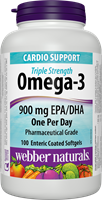Triple Strength Omega-3, Value Size, 900 mg (EPA, DHA), 100 enteric coated softgels