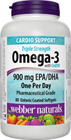 Triple Strength Omega-3 with CoQ10, 900 mg (EPA, DHA), 100 mg, 80 softgels