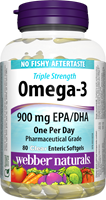 Triple Strength Omega-3, 900 mg, 80 clear enteric softgels