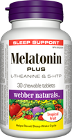 Melatonin Plus, L-Theanine and 5-HTP, 1.5mg (100mg, 15mg), 30 chewable tablets