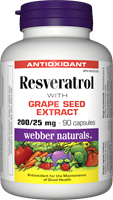 Resveratrol with Grape Seed Extract,  200/25 mg, 90 capsules