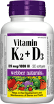 Vitamin K2 & D3, 120 mcg/1000 IU, 30 softgels