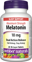 Melatonin, Maximum Strength, Dual Action, Timed Release, 10 mg, 60 tablets