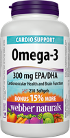 Omega-3 Fish Oils, 1000 mg (EPA 180, DHA 120) BONUS! 180+30 softgels